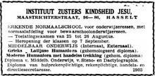 Advertentie 'Instituut Zusters Kindsheid Jezus', Maastrichterstraat 96-86 (uit: Het Belang van Limburg, 03-07-1949, p. 4)