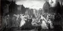 De redding van de schaliedekker, olieverf, anoniem, wit-zwartafbeelding (collectie Het Stadsmus Hasselt)