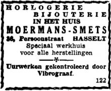 Advertentie 'Huis Moermans-Smets - Uurwerken gecontroleerd door Vibrograaf', Persoonstraat 36 (uit: Het Belang van Limburg, 03-06-1954, p. 6)