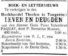 Advertentie 'Boek- en letternieuws / Remaclus Moonen' (uit: Het Algemeen Belang der Provincie Limburg, 04-02-1923, p. 2)