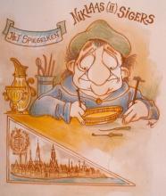 Niklaas (II) Sigers (Hasselt 1603-1655), cartoon, Dré Mathijs (collectie Het Stadsmus Hasselt)