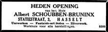 Advertentie 'Huis Albert Schoubben-Bruninx', Statiestraat 3 (uit: Het Belang van Limburg, 30-12-1948, p. 6)