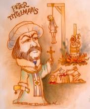 Peter Tittelmans (1501-1572), cartoon, Dré Mathijs (collectie Het Stadsmus Hasselt)