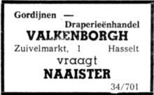 Advertentie 'Valkenborgh', Zuivelmarkt 1 (uit: Het Belang van Limburg, 21-03-1964, p. 16)