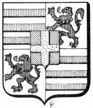 Familiewapen de Merlemont (uit: Het Belang van Limburg, 22-02-1975, p. 31)