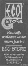 Advertentie 'Eco Store'', de Schiervellaan 4 (uit: Het Belang van Limburg, 29-12-2001, p. 58)