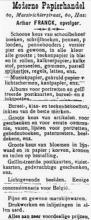 Advertentie 'Moderne Papierhandel Arthur Franck', Maastrichterstraat 60, verschenen in de Gazet van Hasselt in 1908