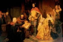 Graaf Arnold IV vernieuwt in 1232 de stadsvrijheden, ca. 1845, olieverfschilderij, Godfried Guffens; verwerkt in lambrisering raadzaal van het stadhuis (foto: Annemie America)